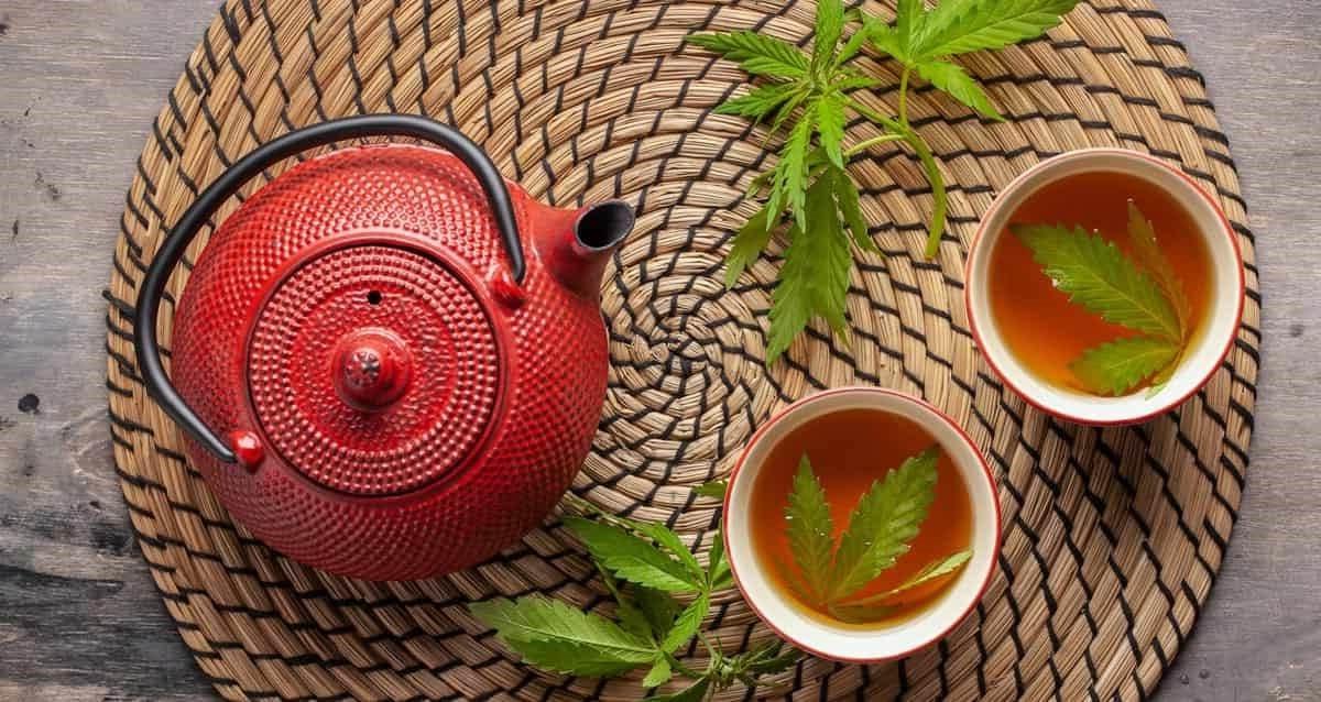 théière avec deux tasses thé cbd